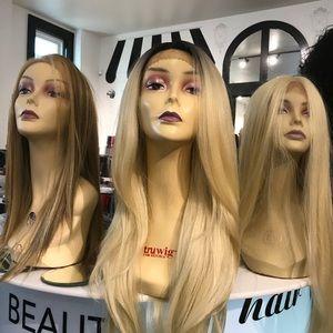 Accessories - Long Blonde Wig ombré Human hair Blende Lace 613